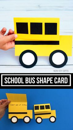 Make a school bus craft with preschoolers, kindergartners and older kids. Use shapes to make this school bus card for the first day of school or back to school. Printable template available Craft School bus back-to-school craft School Bus Crafts, Back To School Crafts For Kids, Diy Back To School, First Day Of School, College Crafts, School Projects, School Ideas, Diy Projects, Summer Preschool Activities