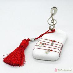 Γούρι με κλειδί του σολ σε πέτρα με κόκκινη φούντα Charmed, Key, Personalized Items, Unique Key