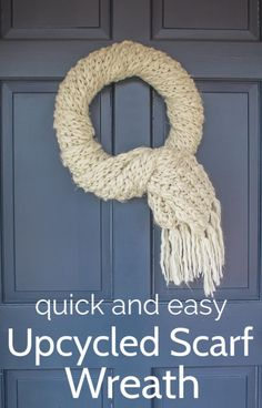 I love this fun winter wreath idea! This quick and easy DIY wreath is such a fun upcycled scarf idea. It only takes five minutes to make and you can still wear the scarf when you are done with your wreath!