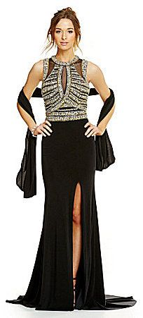 Coya Collection Coya Intricate Beaded Illusion Bodice Long Jersey Dress