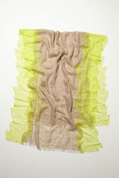 I LOVE this scarf; neon lace paired with linen.  It could be easily made & the combination of textures is perfect.