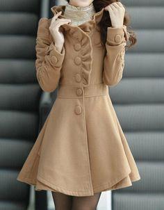 Khaki / Red /Blue wool women coat women dress coat Apring Autumn Winter --CO056