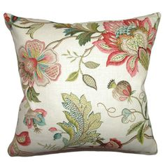 A lovely touch for your sofa, bed, or chaise, this elegant cotton pillow showcases a floral motif and down fill.   Product: Pillow
