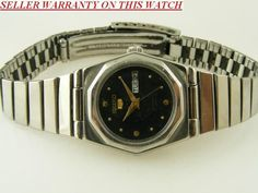 VINTAGE SEIKO 5 AUTOMATIC JAPAN LADIES WATCH WITH DAY AND DATE FEATURE #Collectible