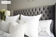 Create a curated bedroom using pattern, texture and mismatched furniture pieces for a collected look that reflects your individual style and personality. Grey Bedroom Design, Gray Bedroom, Grey Carpet Bedroom, Mismatched Furniture, Carpet Trends, Cozy Bed, Bed Pillows, Pillow Cases, Ideas