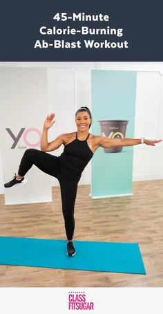 Torch major calories with this cardio and abs-sculpting workout from Jeanette Jenkins, the Hollywood Trainer. The no-equipment workout mixes classic cardio Fitness Workouts, Yoga Fitness, At Home Workouts, Short Workouts, Fitness Hacks, Fitness Motivation, Ab Blast, Workout Mix, Fat Workout