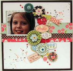 """SMILE EVERY DAY"" scrapbook layout #rosettes"