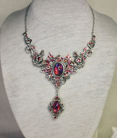 Victorian inspired necklace with dragons breath by Anonijewellry