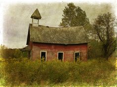 Schoolhouse by raewillow, via Flickr.  Little red schoolhouse standing all alone.