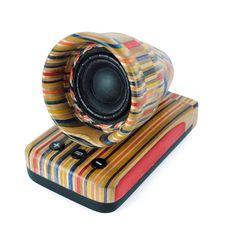 Handcrafted recycled skateboard bluetooth speaker - CDIY