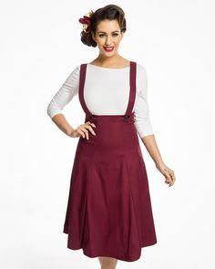 'Pixie' Burgundy Dungaree Swing Skirt