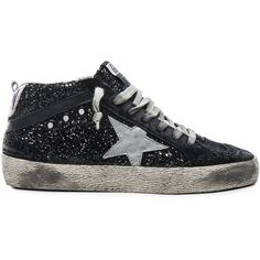 Golden Goose Glitter Mid Star Sneakers ($620) ❤ liked on Polyvore featuring shoes, sneakers, golden goose sneakers, star sneakers, golden goose, golden goose shoes and real leather shoes
