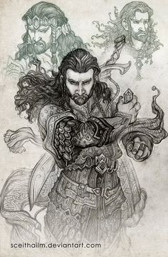 richardarmitageforever:  firafyrngeweorc: Hobbit sketchbook 6 by SceithAilm More fantastic Thorin art by SceithAilm!!  The amount of detail in this art is astounding. I love it!