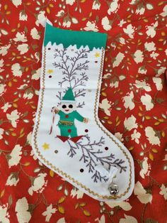 Pixie Elf Vintage Felt Christmas Stocking White with Green and Gold, Japan made