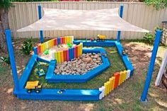 I like this idea but I would switch things around. And no rocks, that just seems to be asking for trouble. Sand and water!