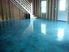 Acid Stain Concrete. Don't love the color but so cool for basement/garage.