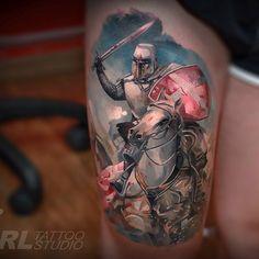 Top 80 Best Knight Tattoo Designs For Men - Brave Ideas Knight Tattoo, Armor Tattoo, Great Tattoos, Body Art Tattoos, Tatoos, Awesome Tattoos, Leg Tattoos, Tattoo Guerreiro, Historical Tattoos