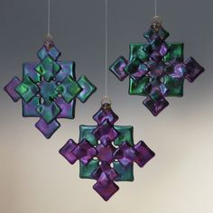 PRISM Cool Tones Black Iridized Fused Glass Snowflake Ornament Suncatcher via Etsy