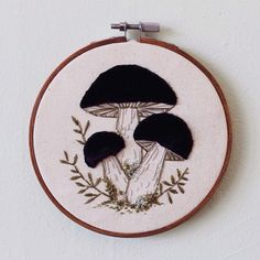 Black velvet mushrooms embroidery hoop by HilaryJane13 on Etsy
