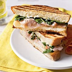Take your average turkey sandwich to the next level with a citrusy spread and a few minutes on the panini press.View Recipe: Turkey Panini with Watercress and Citrus Aioli Turkey Panini, Turkey Sandwiches, Wrap Sandwiches, Delicious Sandwiches, Breakfast Sandwiches, Panini Recipes, Grilled Cheese Recipes, Burger Recipes, Lunch Recipes