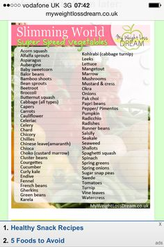 A Slimming World Speed Food Downloadable Cheat Sheet With