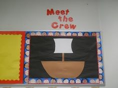 First Grade: Pirate Themed Classroom for Free! Kindergarten Classroom, School Classroom, Classroom Themes, School Fun, Classroom Organization, Organizing, School Stuff, Pirate Bulletin Boards, Back To School Bulletin Boards
