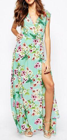 Yumi Kim Plunge Neck Silk Maxi Dress In Ombre Floral Print