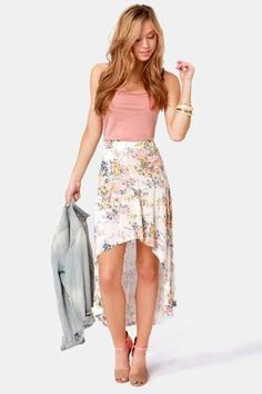 267dc78315e17 The road to outfit awesomeness is paved with the Billabong Wild Roadz  Floral Print High-Low Skirt! Jersey knit skirt with a high-low hemline in a  floral ...