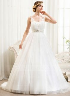 Wedding Dresses - $179.99 - Ball-Gown V-neck Court Train Satin Tulle Wedding Dress With Beading Appliques Lace Sequins (002054361) http://jjshouse.com/Ball-Gown-V-Neck-Court-Train-Satin-Tulle-Wedding-Dress-With-Beading-Appliques-Lace-Sequins-002054361-g54361