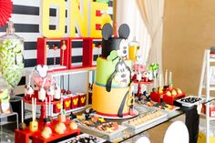 Mickey and Pals 1st birthday party is underway for cute little Hakop!   We decorated this 1st birthday party with Hakop's favorite friend...