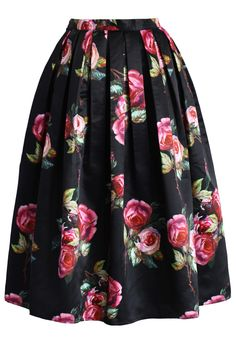 Shades of Roses Pleated Midi Skirt - Skirt - Bottoms - Retro, Indie and Unique Fashion