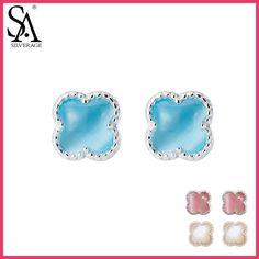 SA SILVERAGE 925 Sterling Silver Stud Earrings for Women Fine Jewelry Flower Silver Earrings set Earings Broncos Pendientes