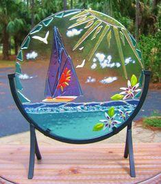 ISLAND GIRLS SAIL fused glass decor sculpture of lavender sailboat on aqua ocean tropical ladies love sailing
