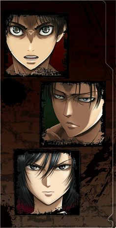 In eren's eyes there's a titan, Levi's has Erwin and mikasa' has Eren in them.