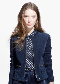 Wildlederjacke mit zippern - Leder für Damen | MANGO