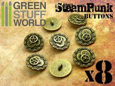 8x Boutons BOULONS & ENGRENAGES  Doré Antique  par GreenStuffWorld