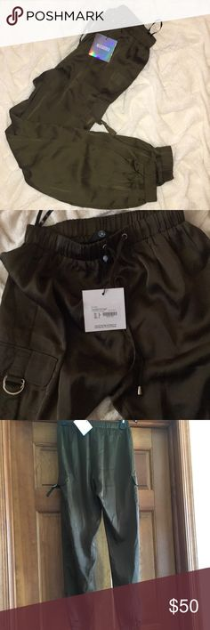 Forest Green Satin Cargo pants Brand-new with tags Missguided Forest Green satin cargo pants. Missguided Pants Skinny