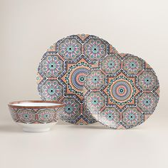 Inspired by traditional Moroccan tiles, an elaborate geometric design style similar to a mosaic, these blue, coral and white dinner plates bring sunbaked Mediterranean flair to your table. - Crafted o Farmhouse Dinnerware, White Dinnerware, Dinnerware Sets, Moroccan Tiles, Moroccan Decor, Moroccan Interiors, Dinner Plate Sets, Dinner Plates, Affordable Home Decor