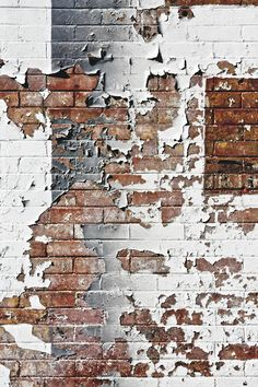 The brick coming through the peeling paint creates a sense of depth. The use of layers in this piece make it visually exciting.