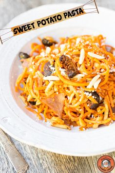 It's raining so I am making this Sweet Potato Pasta again because I am addicted to it.  Delicious meal in under 15 minutes from www.civilizedcavemancooking.com #recipes