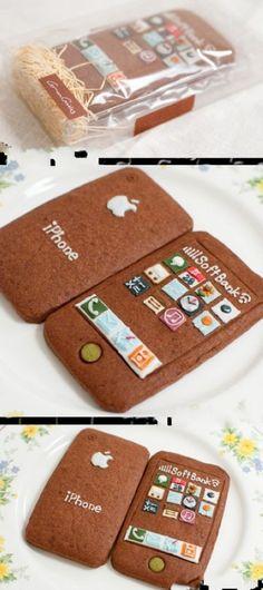 iPhone cake.... SoftBank is my Japanese phone company!! Too too cool!
