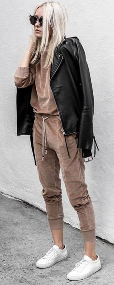 cute outfit _ leather jacket + nude set + sneakers