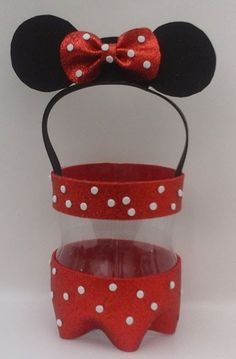 Minnie and Mickey mouse candy makers reusing plastic bottles Mickey Mouse Crafts, Minnie Y Mickey Mouse, Fiesta Mickey Mouse, Mickey Party, Art N Craft, Craft Stick Crafts, Diy And Crafts, Crafts For Kids, Diy Y Manualidades