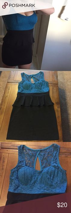 Sexy Peplum Mini Dress! Black and blue peplum dress. Body con bottom. Built in cups. Lace top. Excellent condition. Polyester/rayon/spandex. Deb Dresses Mini