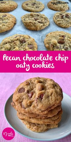 vj cooks pecan and choc chip cookies Chocolate Slice, Cooking Chocolate, Chocolate Recipes, Pecan Cookies, Yummy Cookies, Chocolate Chip Cookies, Chocolate Biscuits, Easy Baking Recipes, Tray Bakes