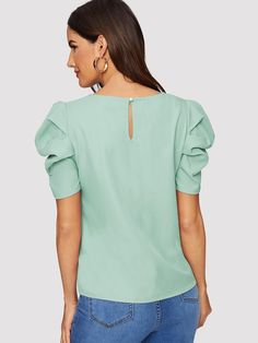 Elegant Keyhole Back Puff Sleeve Blouse Solid Top Blouses for Women Types Of Sleeves, Short Sleeves, Summer Shirts, Sleeve Styles, Blouses For Women, Fashion News, Pullover, Mens Tops, Elegant