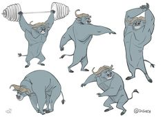 Bogo Calisthenics.  I was sent the concept drawing of Bogo, full body, along with a sheet full of amazing facial expressions, both made by Cory Loftis, and had to take him to the gym to put him on movement. That's what Cory would call doing calisthenics. I did some during that year. Borja Montoro Character Design: Zootopia V