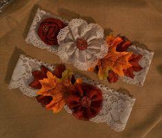 Handmade Fall Wedding Garter Set Rustic by HavingFunWithCrafts, $24.99