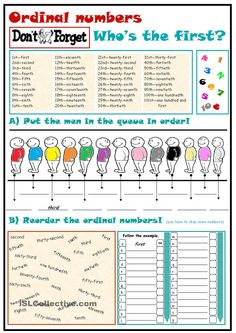 An elementary worsheet that contains explanation and exercises on ordinal numbers. I uploaded this worksheet on ESL printables, so you can find it there too. Number Activities, Number Worksheets, Vocabulary Worksheets, Printable Worksheets, English Vocabulary, Printables, English Lessons, Learn English, Cardinal Numbers