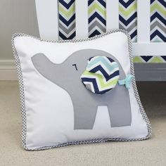 Cute grey gingham piping compliment this baby elephant with chevron navy floppy ear. Sham removes for washing. Happy Elephant, Elephant Pillow, Baby Feeding, Pillow Design, Pillow Shams, Baby Love, Decorative Pillows, Chevron, Nursery